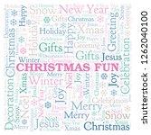 christmas fun word cloud. | Shutterstock . vector #1262040100