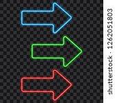 neon glowing arrow set on... | Shutterstock .eps vector #1262051803