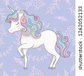unicorn illustration with... | Shutterstock . vector #1262052133
