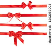 set of red ribbon satin bows... | Shutterstock . vector #1262053003