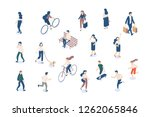 vector isomeric walking people... | Shutterstock .eps vector #1262065846