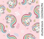 cute unicorn vector pattern... | Shutterstock .eps vector #1262066296