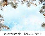 christmas background with fir... | Shutterstock . vector #1262067043