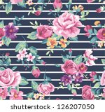 vintage tropical flower pattern ... | Shutterstock .eps vector #126207050