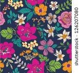 sketch flower seamless pattern... | Shutterstock .eps vector #126207080