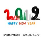 happy 2019 new year for the... | Shutterstock .eps vector #1262076679