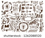 large vector set of hand drawn... | Shutterstock .eps vector #1262088520