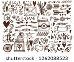 large set of hand drawn... | Shutterstock .eps vector #1262088523