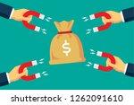 attracting money bag | Shutterstock .eps vector #1262091610
