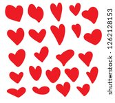 set of hand drawn hearts.vector ... | Shutterstock .eps vector #1262128153