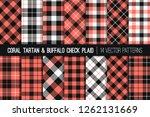 coral  white and black tartan... | Shutterstock .eps vector #1262131669