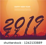 group of people holding 2019... | Shutterstock .eps vector #1262133889