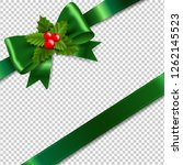 green bow with holly berry... | Shutterstock . vector #1262145523