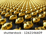row of piggy banks  gold luxery ... | Shutterstock . vector #1262146609