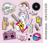 fashionable patch badges with a ... | Shutterstock .eps vector #1262152120