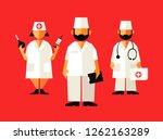 doctors or nurses. cartoon... | Shutterstock .eps vector #1262163289