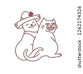 cats couple romantic dating... | Shutterstock .eps vector #1262174326