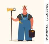 cute chubby worker holding... | Shutterstock .eps vector #1262178409