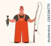cute chubby fisherman holding a ... | Shutterstock .eps vector #1262186770