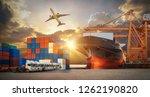 logistics and transportation of ... | Shutterstock . vector #1262190820