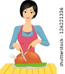illustration of a woman slicing ... | Shutterstock .eps vector #126221336