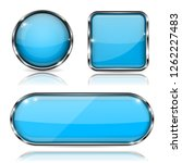 blue glass buttons with chrome... | Shutterstock . vector #1262227483
