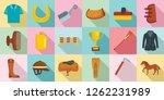 horseback riding icon set. flat ... | Shutterstock .eps vector #1262231989