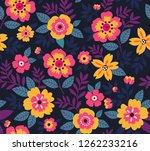 floral pattern vintage style.... | Shutterstock .eps vector #1262233216