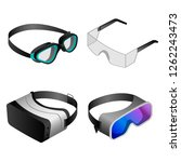 Goggles Icon Set. Isometric Se...