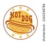 logo hot dog for fast food... | Shutterstock . vector #1262248786