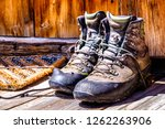 old used hiking boots   photo | Shutterstock . vector #1262263906