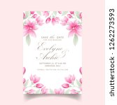 Stock vector floral wedding invitation with magnolia flowers 1262273593