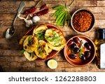 homemade bruschetta with... | Shutterstock . vector #1262288803