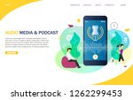 audio media and podcast landing ... | Shutterstock .eps vector #1262299453