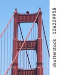One of the most famous bridges in the US, the Golden Gate. - stock photo