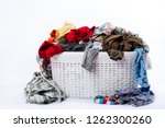 dirty laundry basket on white... | Shutterstock . vector #1262300260