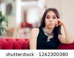 funny bored elegant woman... | Shutterstock . vector #1262300380