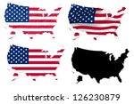 united states flag over map... | Shutterstock . vector #126230879