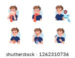 cute boy with  flu disease and ... | Shutterstock .eps vector #1262310736