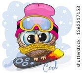 cute cartoon owl girl on a... | Shutterstock .eps vector #1262317153