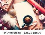 christmas fir tree  decorations ... | Shutterstock . vector #1262318509