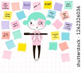 cartoon funny nerdy planner girl writing inspirational phrases on note paper, kawaii style character, pastel colours simple flat vector graphic, office stationery concept illustration