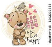 greeting card cute cartoon... | Shutterstock .eps vector #1262333953