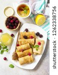 healthy pancakes breakfast....   Shutterstock . vector #1262338756