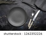 empty gray plate  ceramic  on a ...   Shutterstock . vector #1262352226