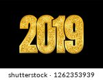 happy new year shiny gold... | Shutterstock . vector #1262353939