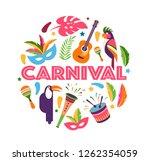 brazilian carnival  music... | Shutterstock .eps vector #1262354059