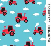 seamless hand drawn red tractor ... | Shutterstock .eps vector #1262355076