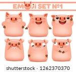 set of cute pig cartoon emoji...   Shutterstock .eps vector #1262370370
