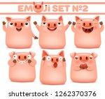 set of cute pig cartoon emoji... | Shutterstock .eps vector #1262370376